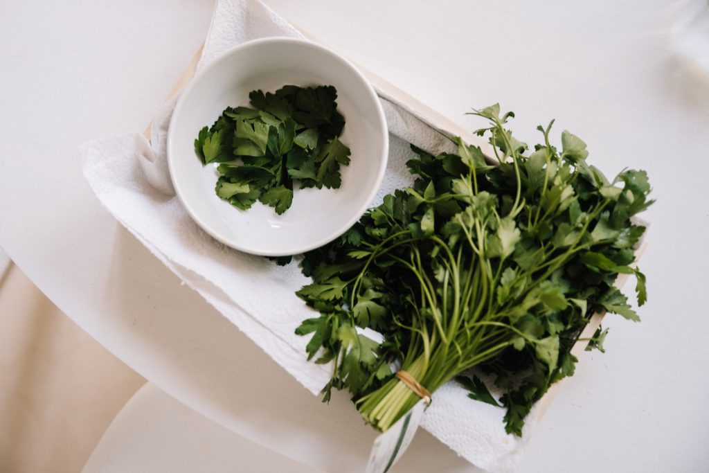 Bunch of flat-leaved parsley with torn leaves in bowl