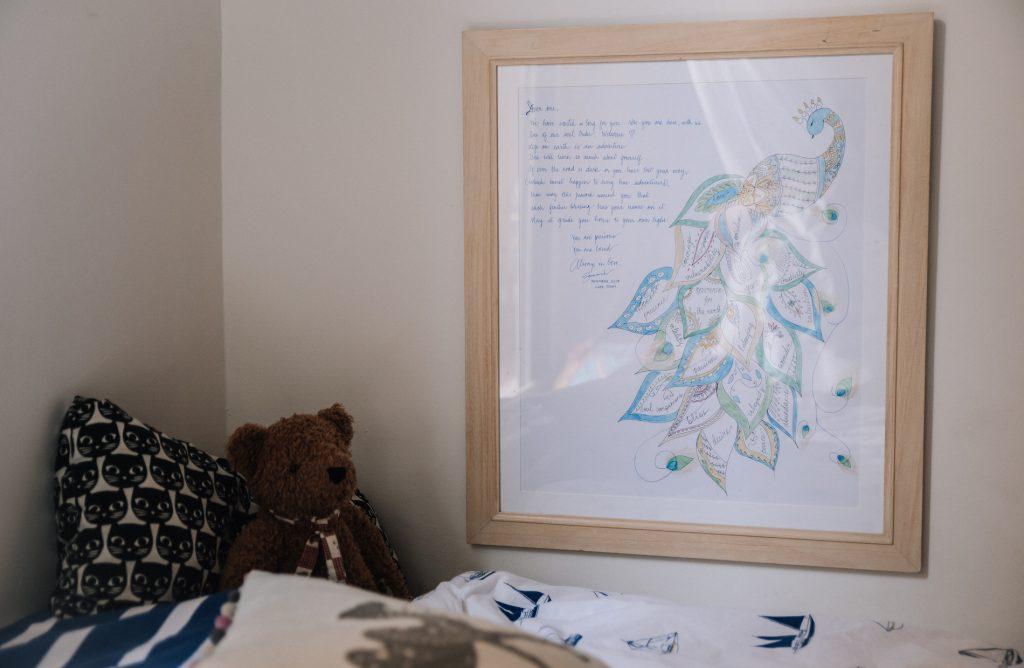 Artwork on wall in children's bedroom