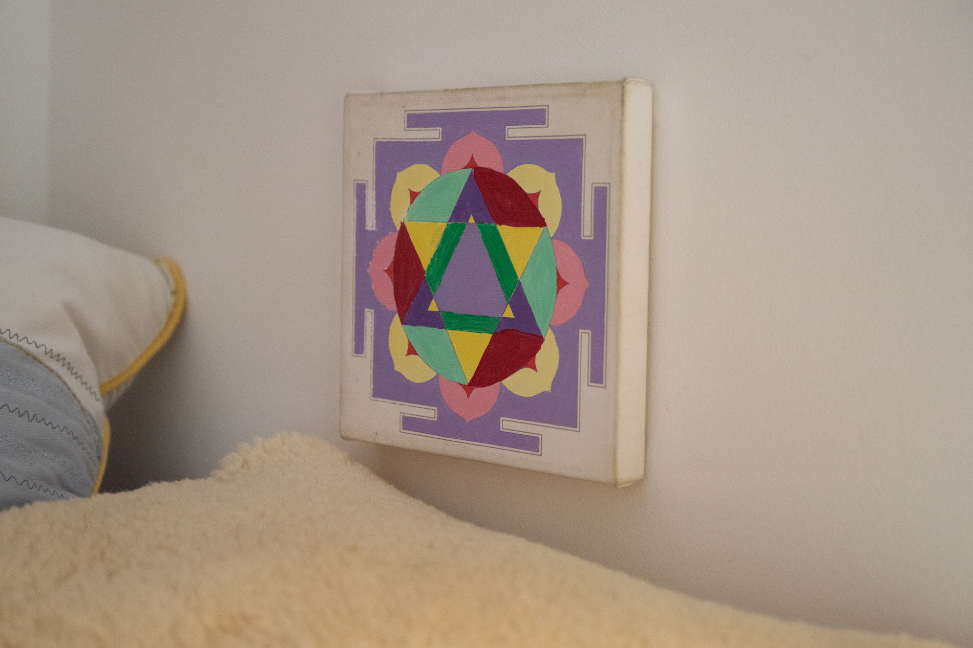 Mandala on wall in child's playroom